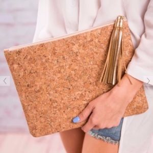Mudpie | Cork With Gold Accents + Tassel Clutch